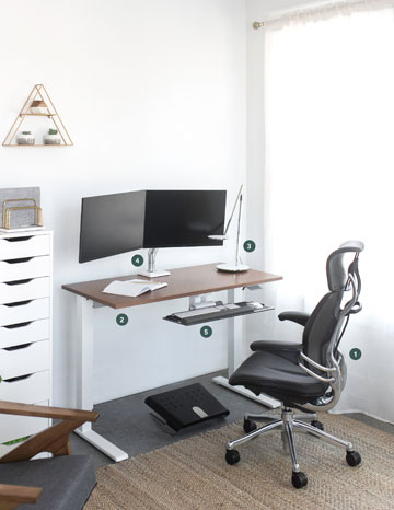 """""""Furnished office room with revolving chair, moniter arm, keyboard tray"""" """""""